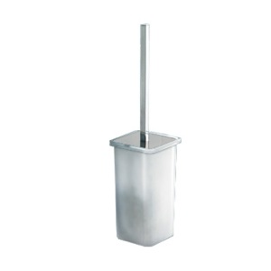 Toilet Brush, Gedy 5733-03-13, Wall Mounted Square White Glass Toilet Brush Holder