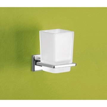 Toothbrush Holder, Gedy 6910-13, Wall Mounted Frosted Glass Toothbrush Holder