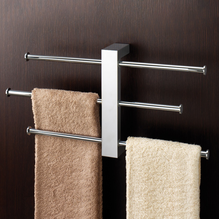 Towel Rack, Gedy 7630-13, Polished Chrome Wall Mounted Towel Rack With 3 16 Inch Sliding Rails