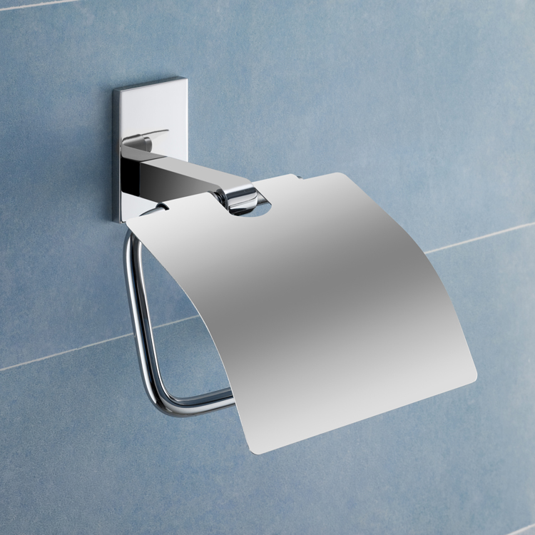 Toilet Paper Holder, Gedy 7825-13, Chromed Brass Toilet Roll Holder With Cover