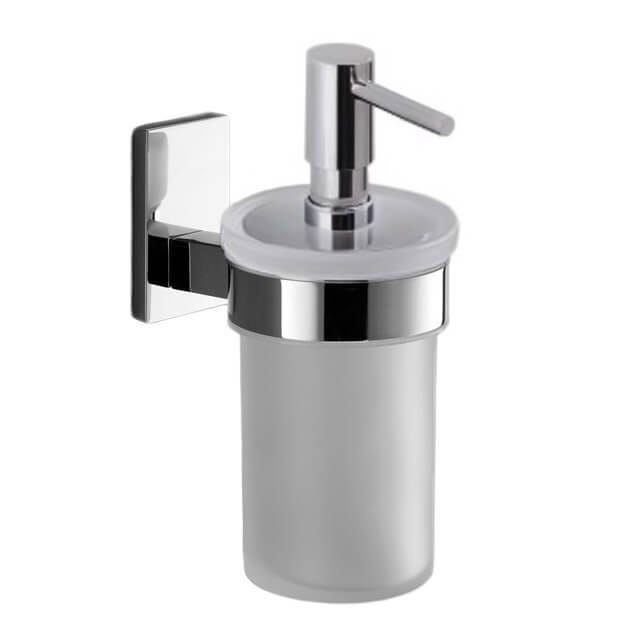 Soap Dispenser, Gedy 7881-13, Wall Mounted Frosted Glass Soap Dispenser With Chrome Mounting