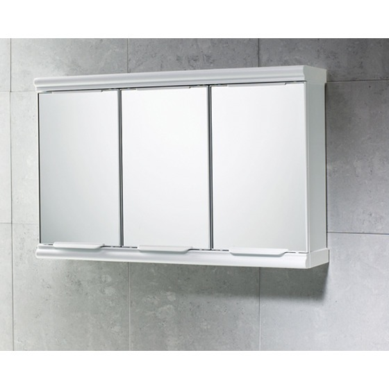 Medicine Cabinet, Gedy 8047-13, Chrome Cabinet with 3 Mirrored Doors