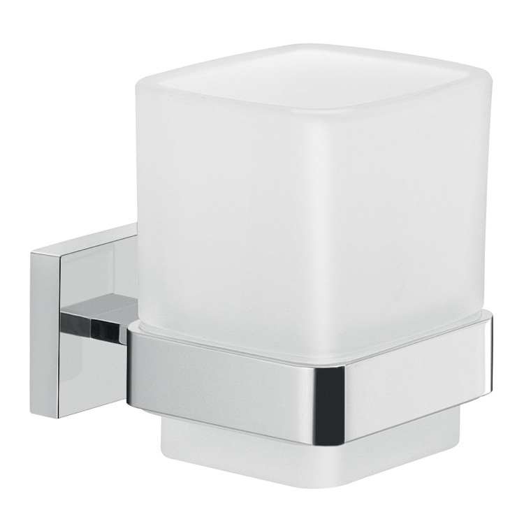Toothbrush Holder, Gedy A010-13, Frosted Glass Wall Toothbrush Holder With Chrome Mounting