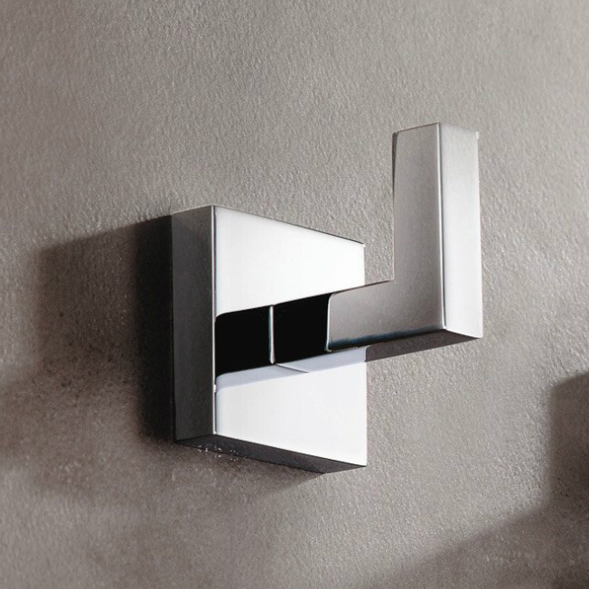 Bathroom Hook, Gedy A026-13, Modern Square Wall Mounted Chrome Bathroom Hook