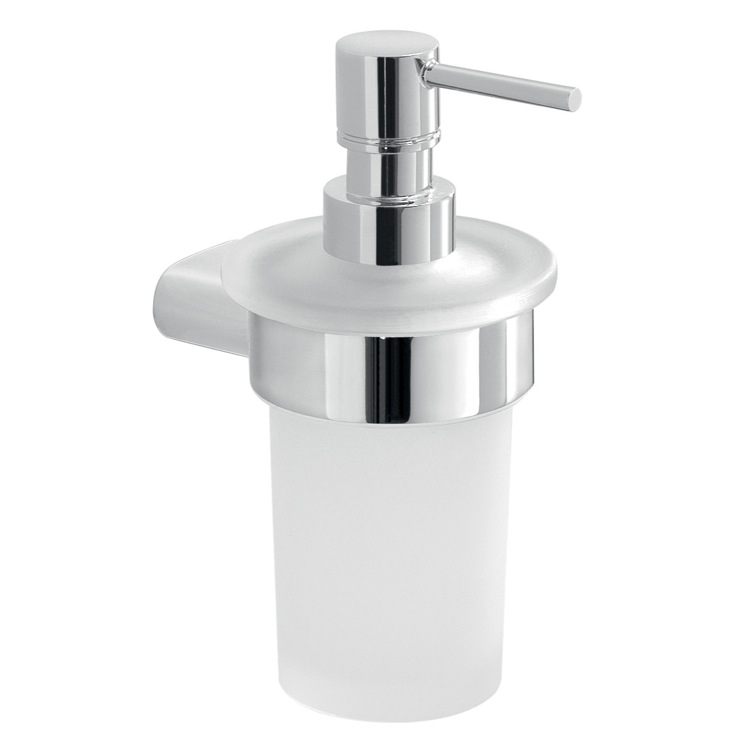 Soap Dispenser, Gedy A181-13, Frosted Glass Soap Dispenser With Chrome Mounting