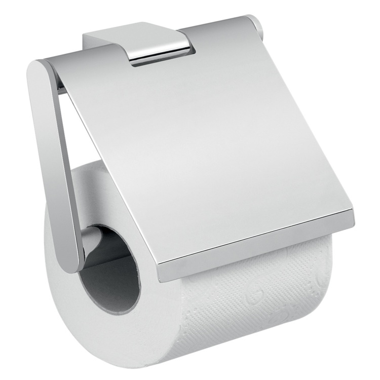 Toilet Paper Holder, Gedy A225-13, Square Wall Mounted Chrome Toilet Paper Holder with Cover