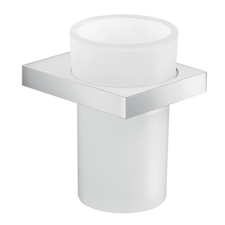Toothbrush Holder, Gedy A310-13, Round Wall Mounted Cromall and Frosted Glass Tooth Brush Holder