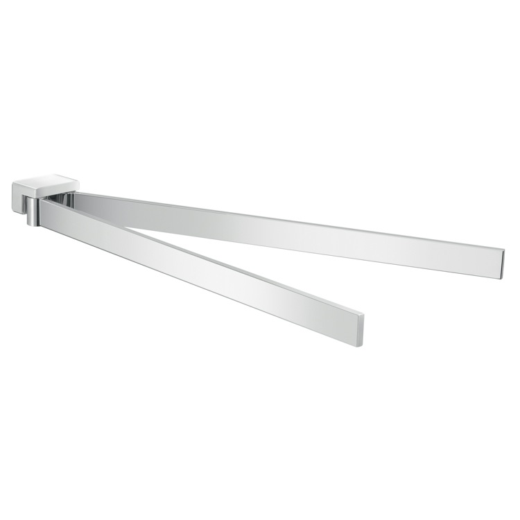 Swivel Towel Bar, Gedy A323-13, 15 Inch Wall Mounted Double Swivel Chrome Towel Bar