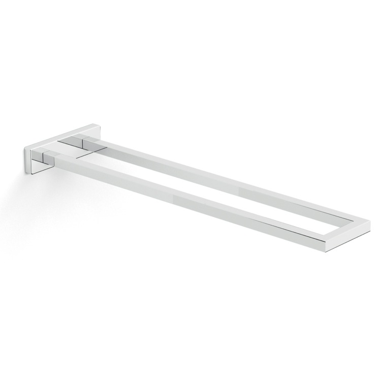 Towel Bar, Gedy A022-13, Stylish Rectangular Chrome Towel Bar with Two Rails