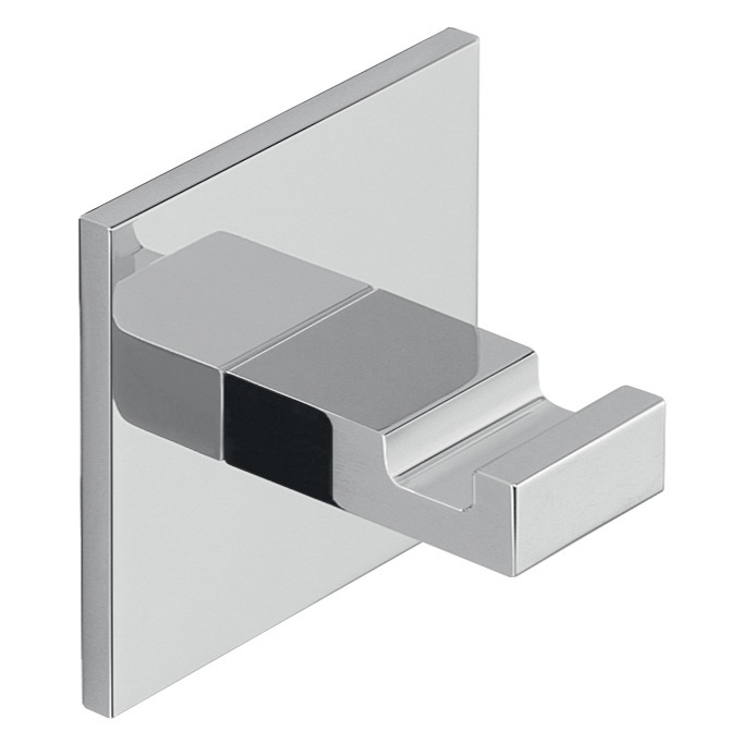 Bathroom Hook, Gedy D127, Adhesive Mounted Square Polished Chrome Aluminum Hook