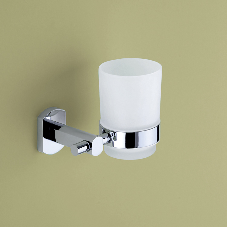 Toothbrush Holder, Gedy ED10-13, Wall Mounted Frosted Glass Tumbler With Chrome Mounting