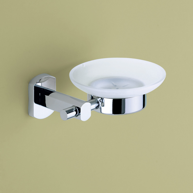 Soap Dish, Gedy ED11-13, Wall Mounted Frosted Glass Soap Holder with Chrome Mounting