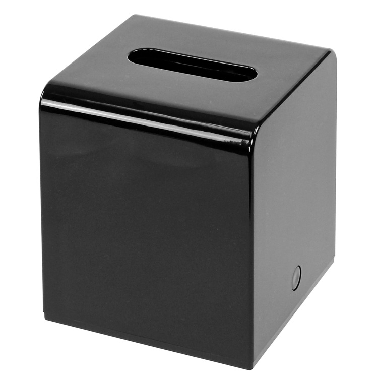 Tissue Box Cover, Gedy 2001-14, Shiny Square Black Tissue Cover Made of Thermoplastic Resins