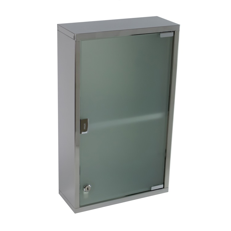Medicine Cabinet, Gedy JO07-13, Stainless Steel Cabinet with Cabinet with glass door and 1 shelf