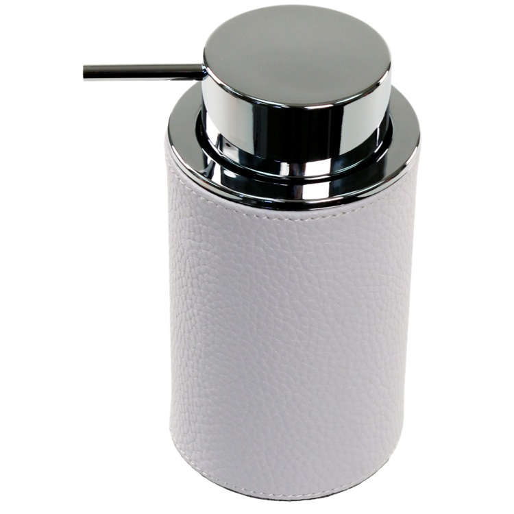 Soap Dispenser, Gedy AC80, Round Soap Dispenser Made From Faux Leather Available in Three Finishes