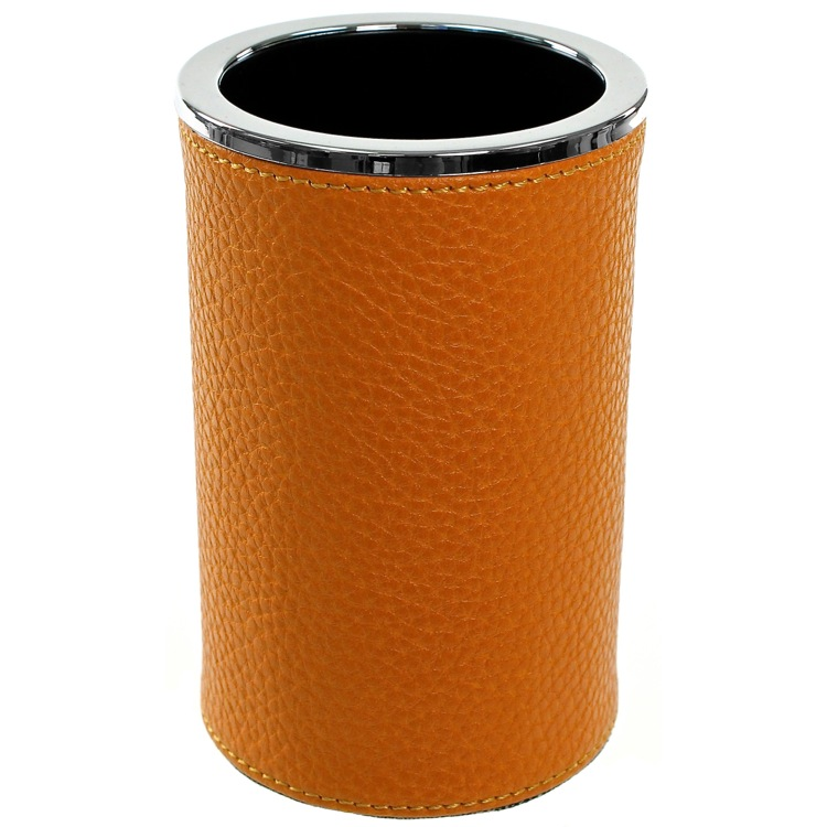 Toothbrush Holder, Gedy AC98-67, Round Toothbrush Holder Made From Faux Leather in Orange Finish