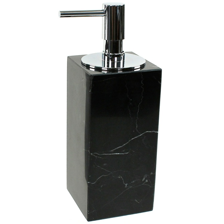 Soap Dispenser, Gedy AN81-14, Black Marble Soap Dispenser with Chrome Pump