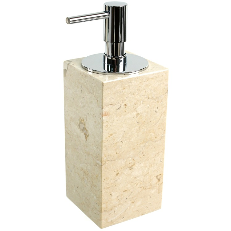 Soap Dispenser, Gedy EU80-03, Square Beige Soap Dispenser Made from Marble
