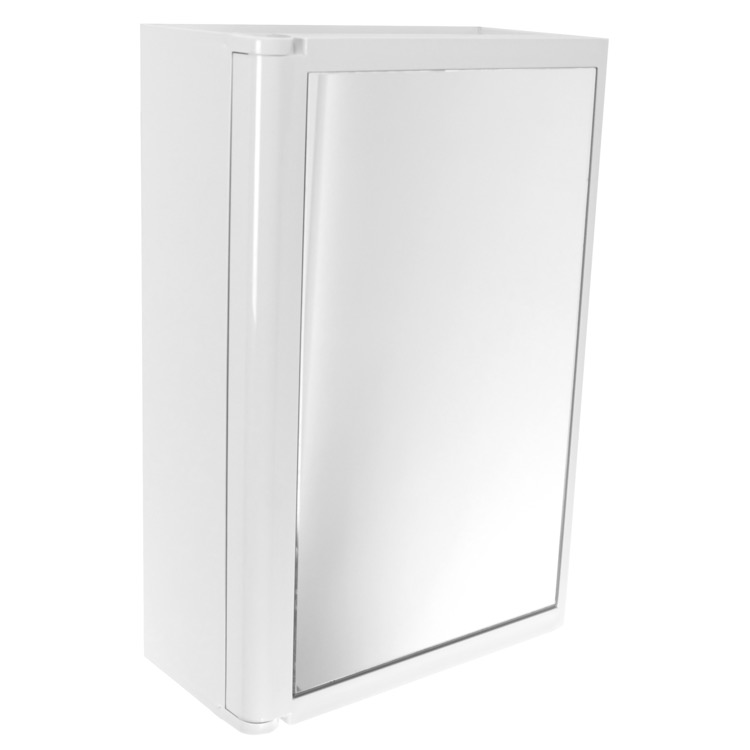 Medicine Cabinet, Gedy 8007-02, White Cabinet with Mirror Door Made of Thermoplastic Resins
