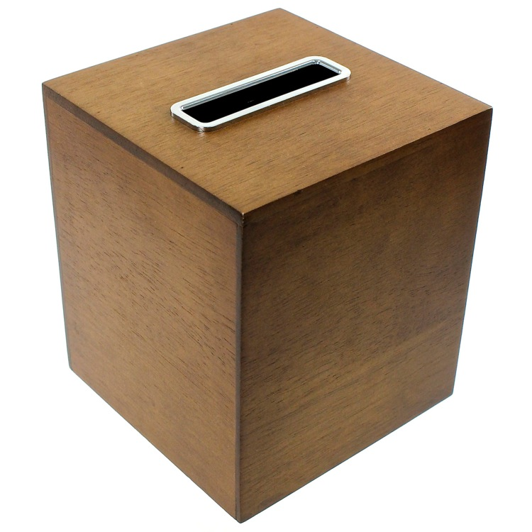 Tissue Box Cover, Gedy PA02-31, Tissue Box Made From Wood in a Brown Finish