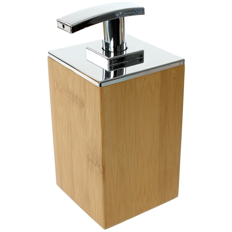 Soap Dispenser, Gedy PO81-35, Wood Square Soap Dispenser