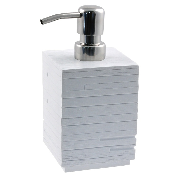 Soap Dispenser, Gedy QU81-02, Square White Soap Dispenser Made From Thermoplastic Resin