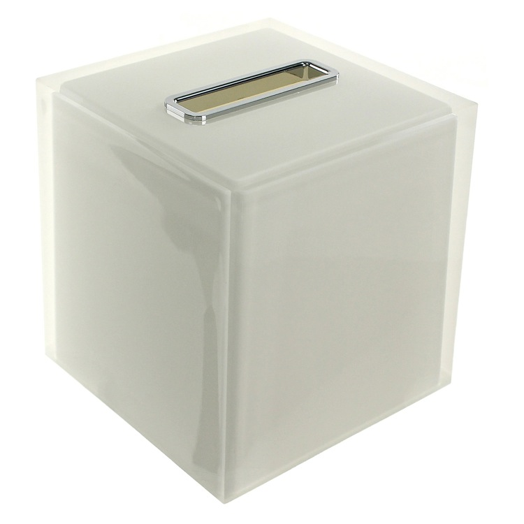 Tissue Box Cover, Gedy RA02-02, Thermoplastic Resin Square Tissue Box Cover in White Finish