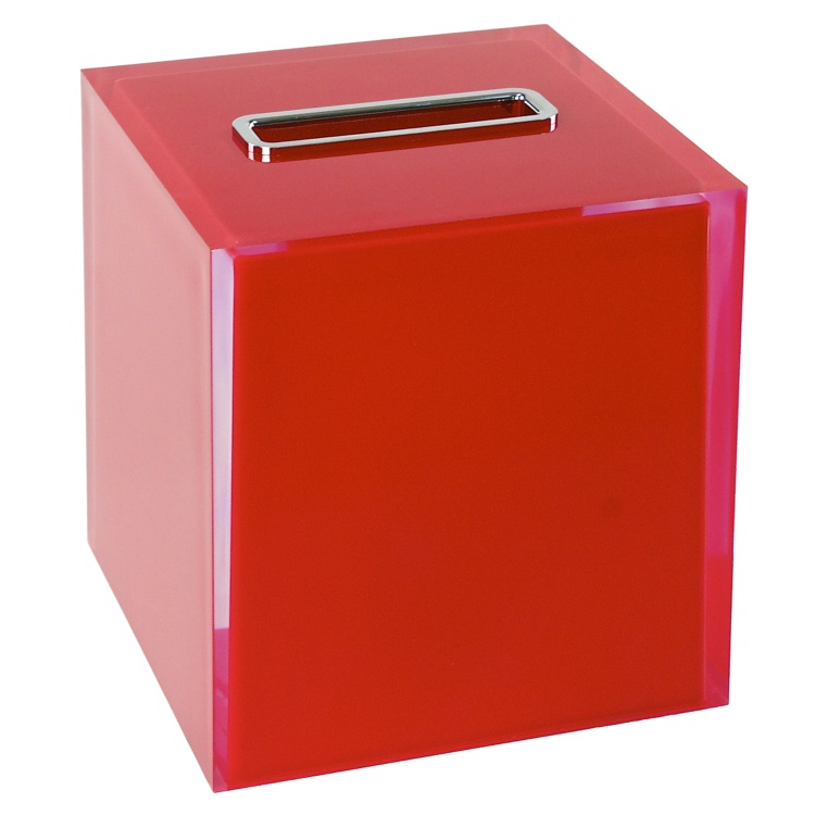 Tissue Box Cover, Gedy RA02-06, Thermoplastic Resin Square Tissue Box Cover in Red Finish