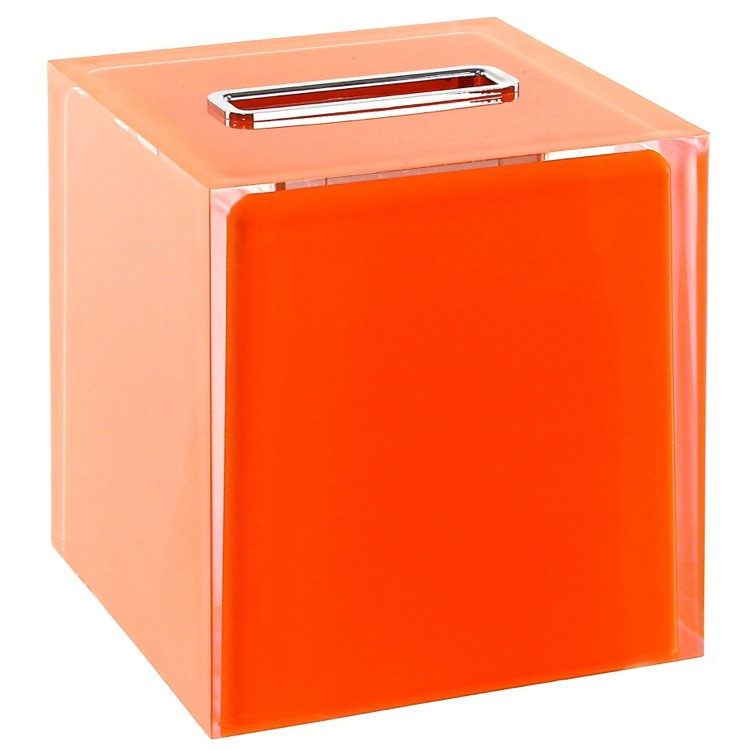 Tissue Box Cover, Gedy RA02-67, Thermoplastic Resin Square Tissue Box Cover in Orange Finish