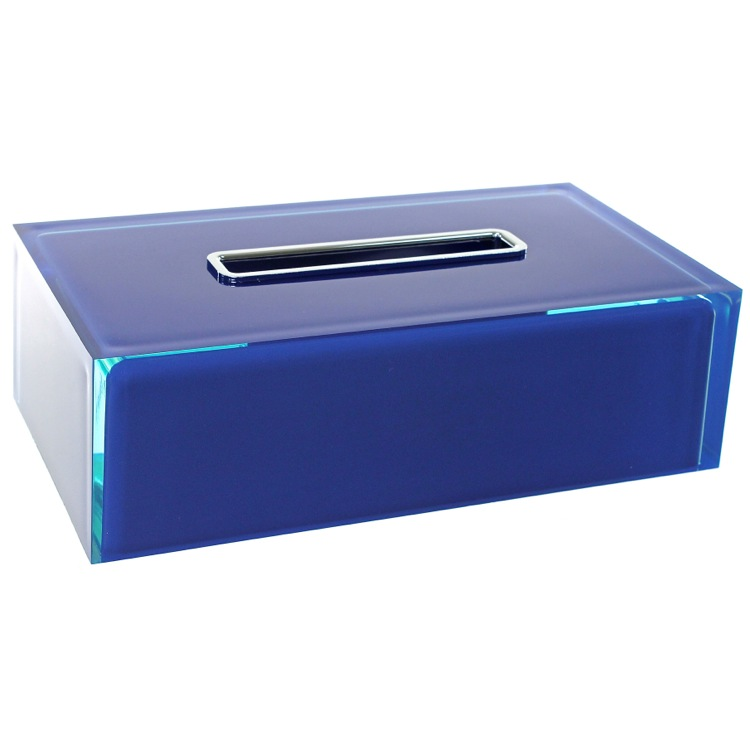 Tissue Box Cover, Gedy RA08-05, Thermoplastic Resin Rectangular Tissue Box Cover in Blue Finish