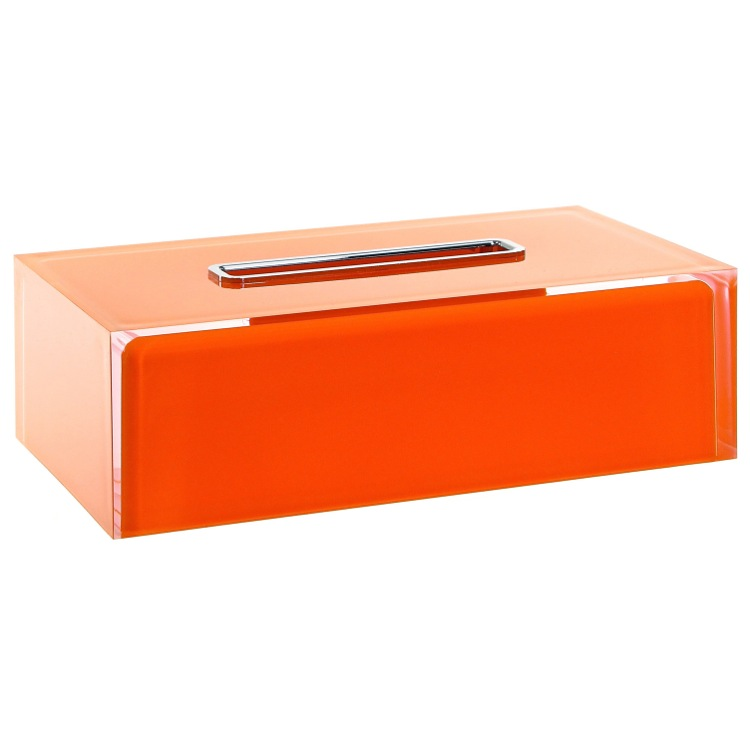 Tissue Box Cover, Gedy RA08-67, Thermoplastic Resin Rectangular Tissue Box Cover in Orange Finish