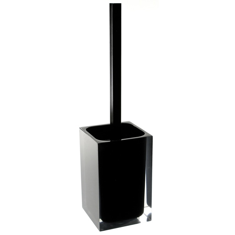 Toilet Brush, Gedy RA33-14, Black Stylish Square Toilet Brush Holder