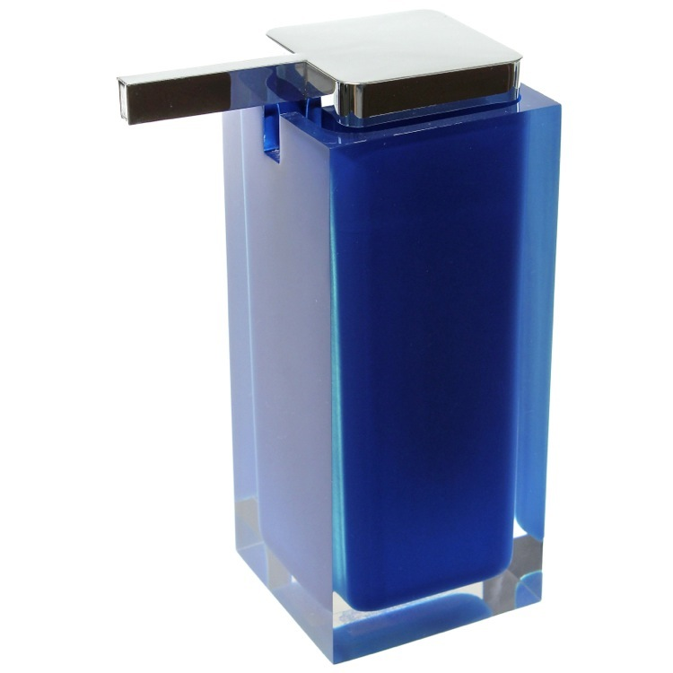 Soap Dispenser, Gedy RA80-05, Square Blue Countertop Soap Dispenser