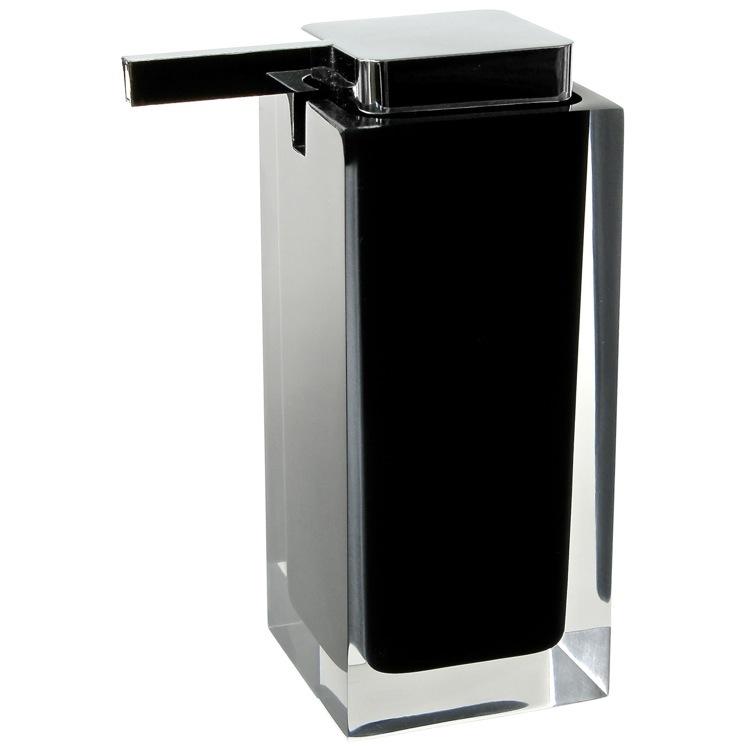 Soap Dispenser, Gedy RA80-14, Square Black Countertop Soap Dispenser