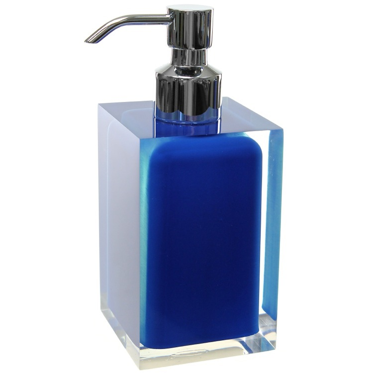 Soap Dispenser, Gedy RA81-05, Square Blue Countertop Soap Dispenser