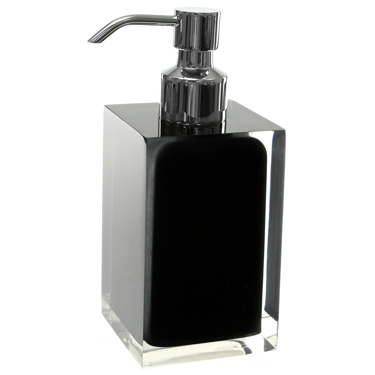 Soap Dispenser, Gedy RA81-14, Square Black Countertop Soap Dispenser