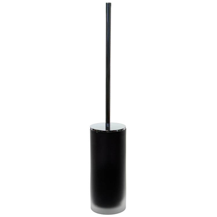 Toilet Brush, Gedy TI33-14, Black Frosted Glass Toilet Brush With Chrome Handle