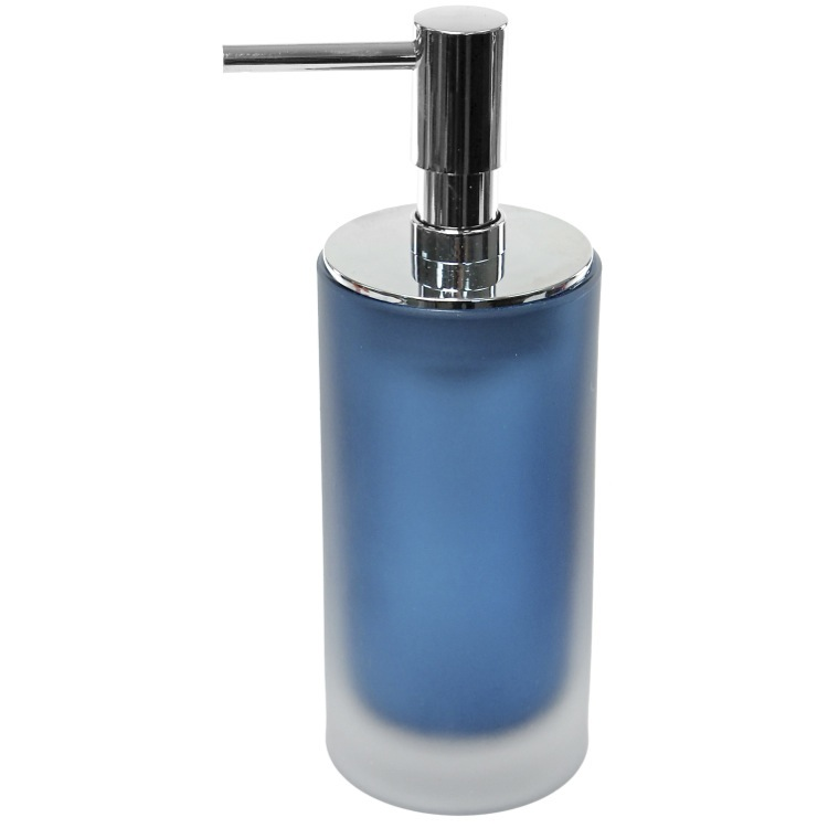 Soap Dispenser, Gedy TI81-05, Glass Free Standing Blue Soap Dispenser