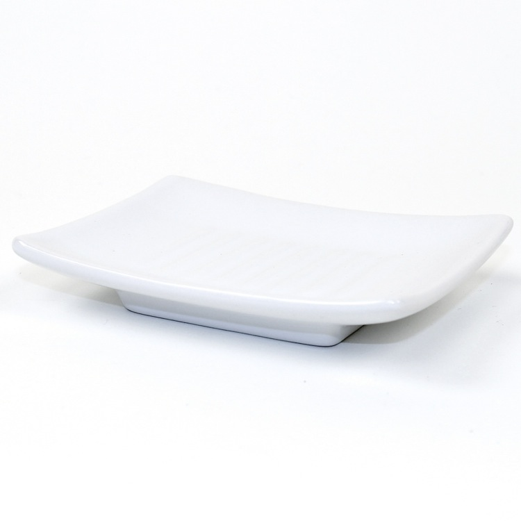 Soap Dish, Gedy VE11-02, Square White Pottery Soap Dish