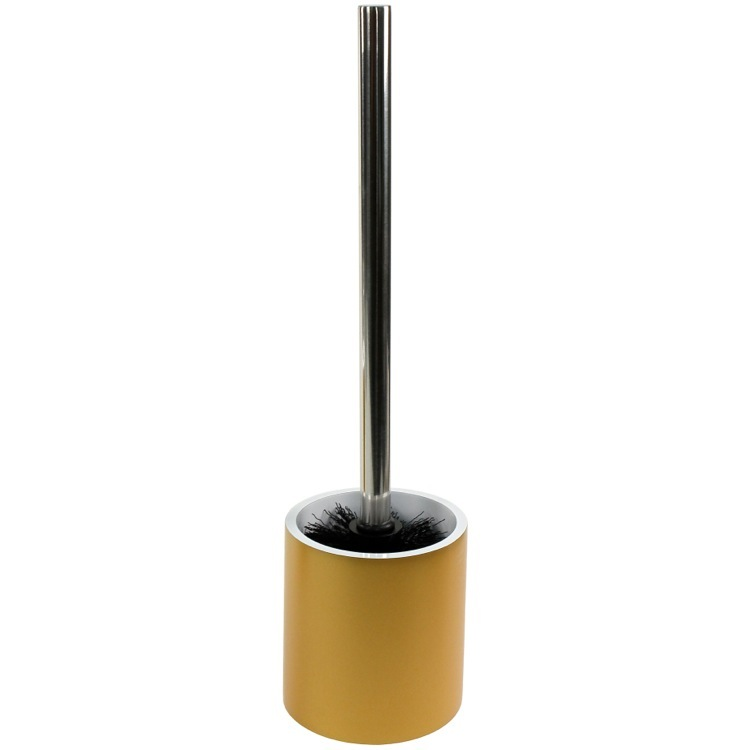 Toilet Brush, Gedy YU33-87, Steel and Gold Round Free Standing Toilet Brush Holder in Resin