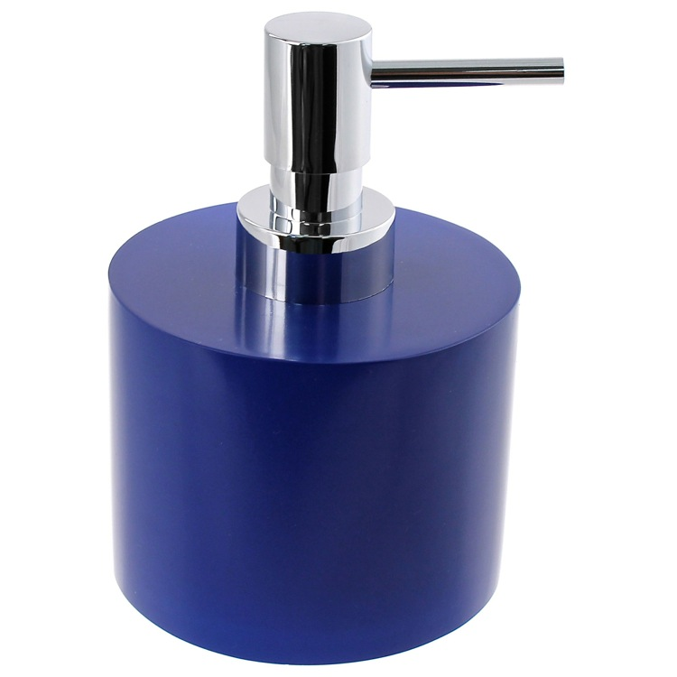 Soap Dispenser, Gedy YU81-05, Short and Round Blue Soap Dispenser in Resin
