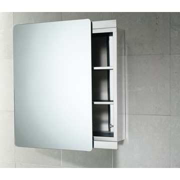 Medicine Cabinet, Gedy KO07 13, Stainless Steel Cabinet With Sliding Mirror  Door