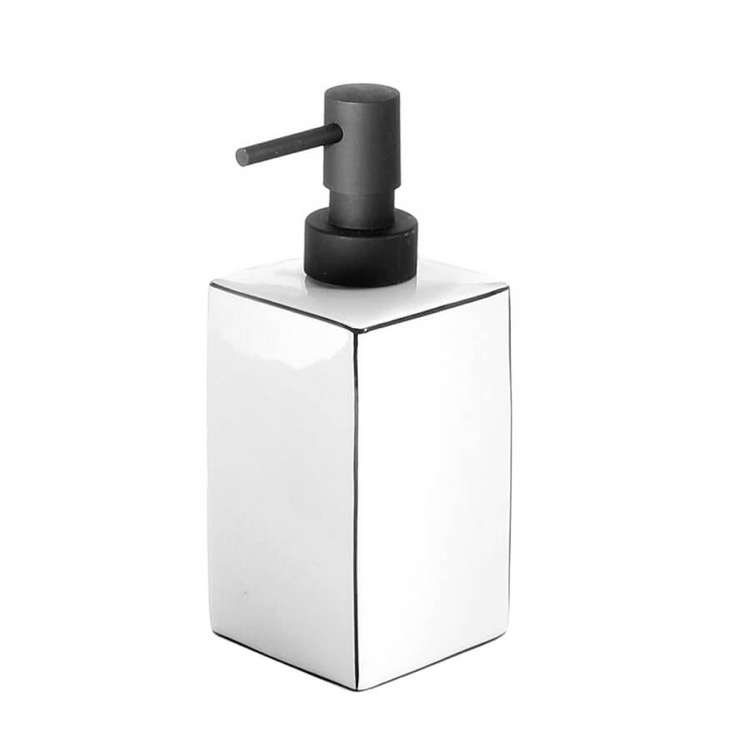 Soap Dispenser, Gedy LC80-02, White Pottery Free Standing Soap Dispenser