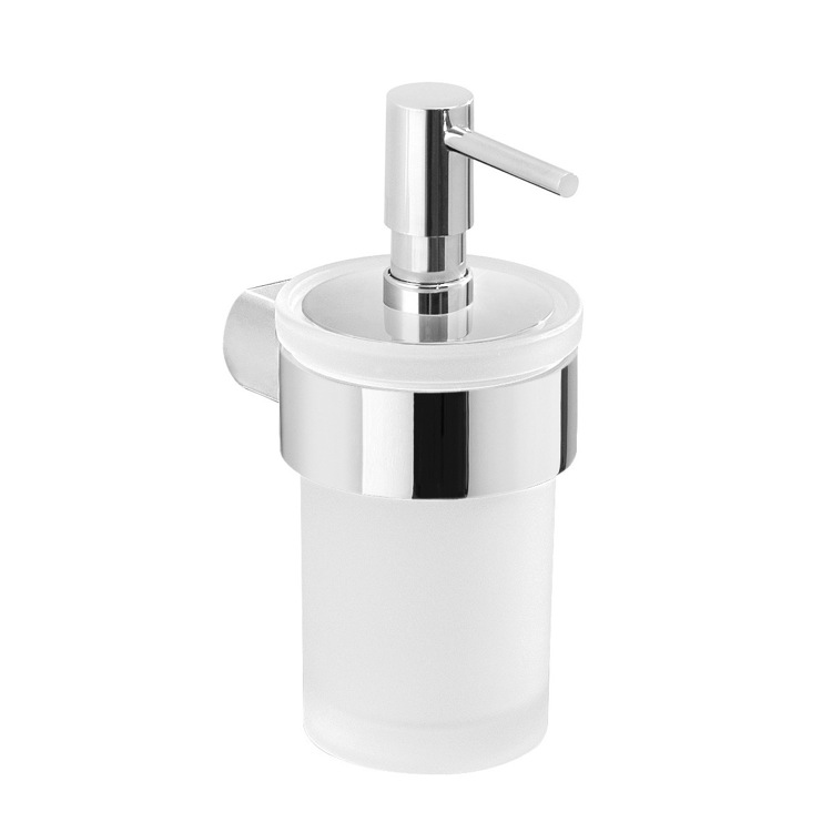 Soap Dispenser, Gedy PI81-13, Wall Mount Frosted Glass Soap Dispenser With Chrome Mount
