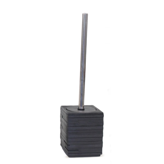 Toilet Brush, Gedy QU33-14, Square Black Toilet Brush Holder with Chrome Handle