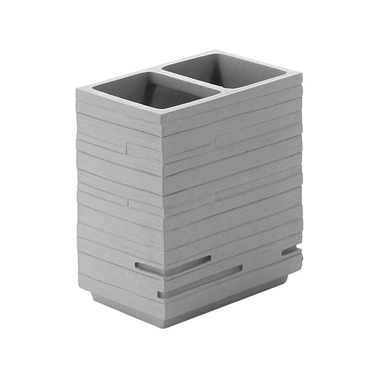 Toothbrush Holder, Gedy QU98-08, Square Grey Toothbrush Holder