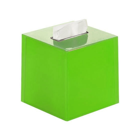 Tissue Box Cover, Gedy RA02-04, Thermoplastic Resin Square Tissue Box Cover in Green Finish