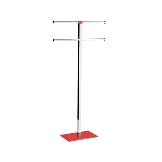 Towel Stand, Gedy RA31-06, Red Towel Holder in Steel and Resin