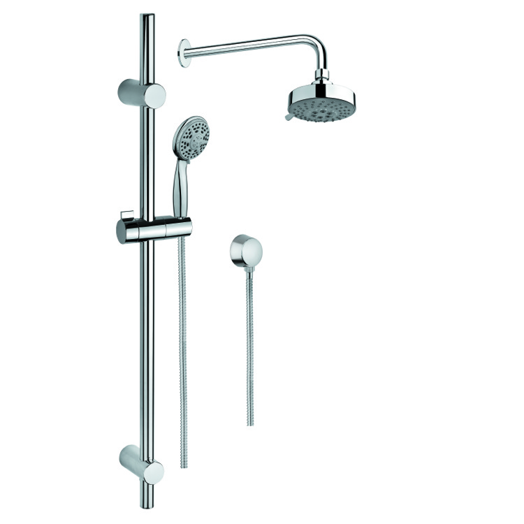 Shower System, Gedy SUP1003, Chrome Shower System with Hand Shower with Sliding Rail, Showerhead, and Water Connection