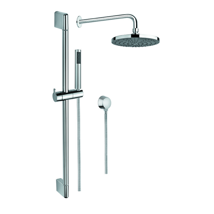 Shower System, Gedy SUP1010, Chrome Shower System with Hand Shower with Sliding Rail, Showerhead, and Water Connection